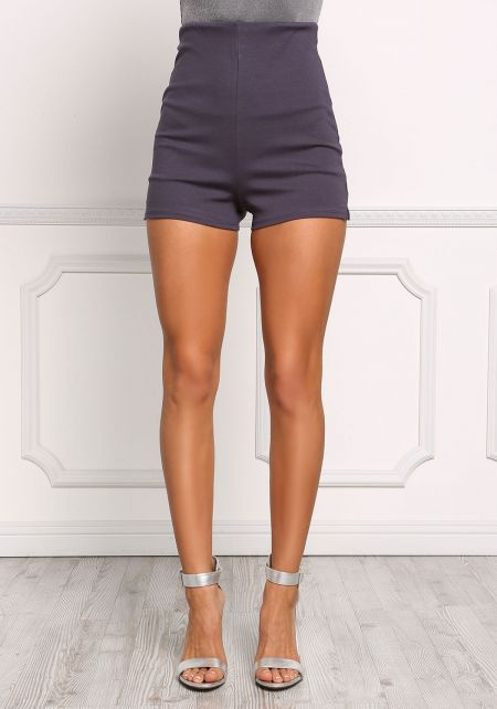 Charcoal High Rise Knit Shorts