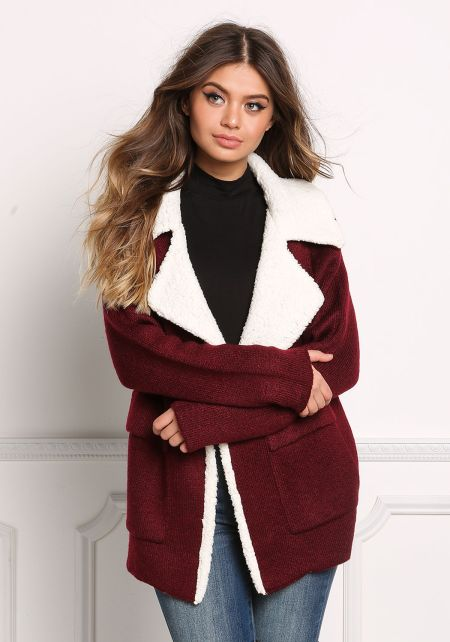 Wine Faux Shearling Thick Knit Coat