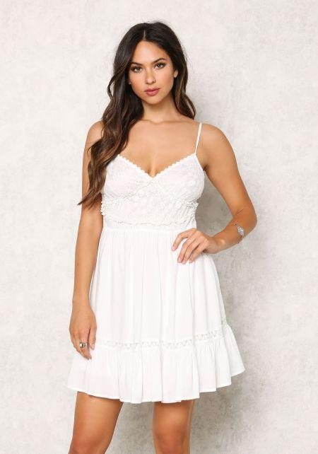 Ivory Lace Trim Babydoll Tank Dress