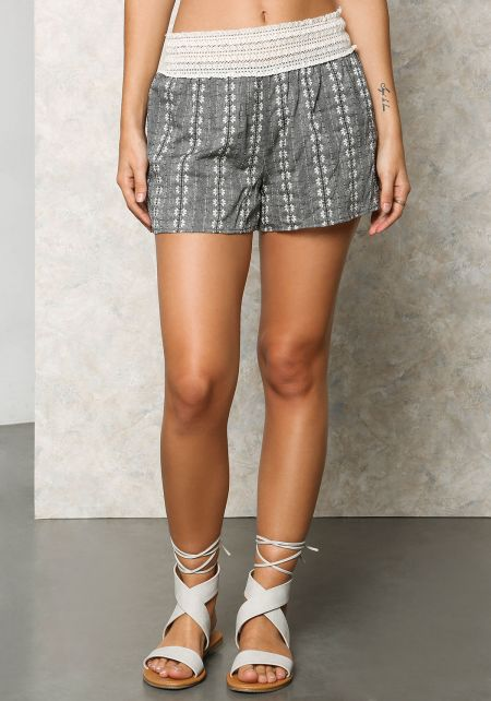 Grey Floral Cotton Crochet Shorts