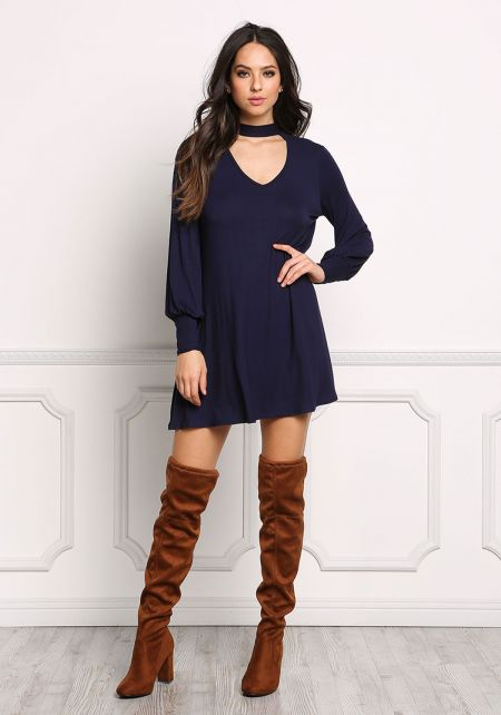 Navy Tie Back Cut Out Jersey Knit Shift Dress