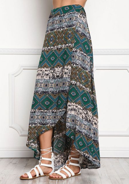 Teal Multi Print Wrap Maxi Skirt