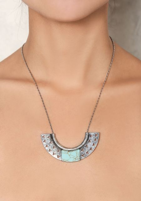 Turquoise Cut Out Pendant Necklace