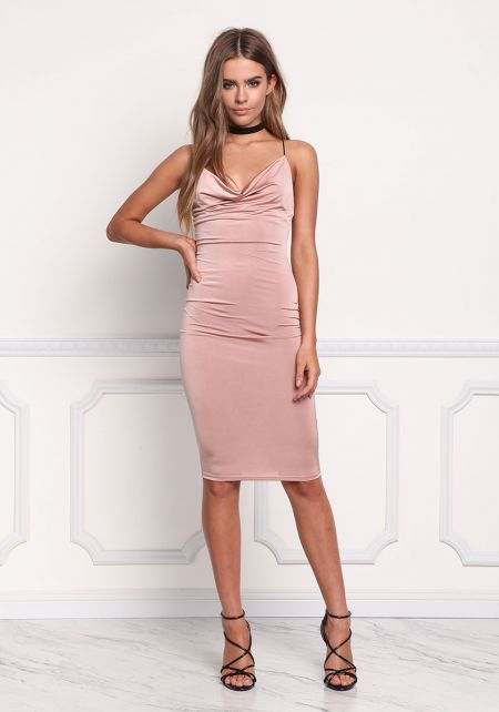 Blush Cross Strap Draped Bodycon Dress