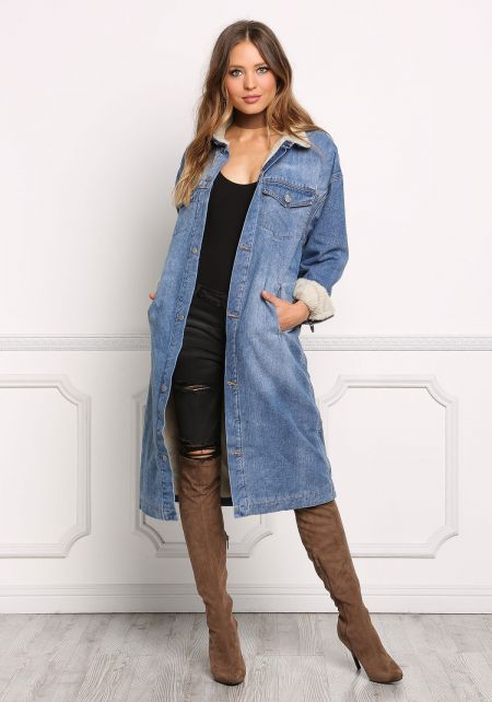 Denim Faux Shearling Longlined Pocket Jacket