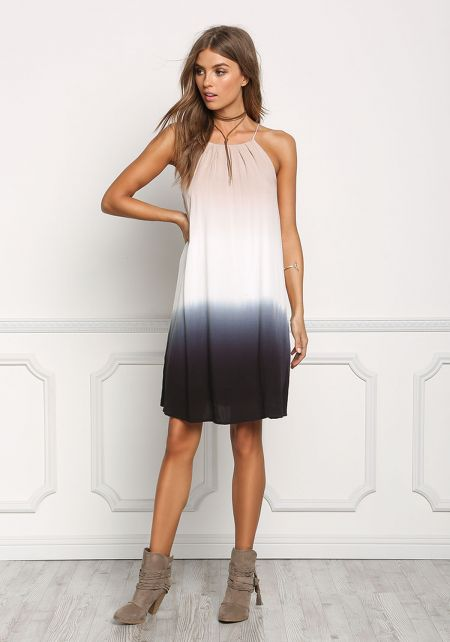 Black and Taupe Color Block Shift Dress