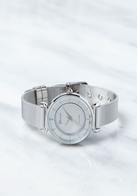 Silver Classic Mesh Link Band Watch