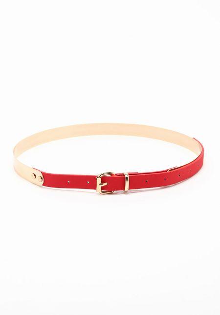 Red Leatherette Metallic Belt