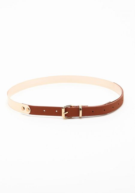 Brown Leatherette Metallic Belt