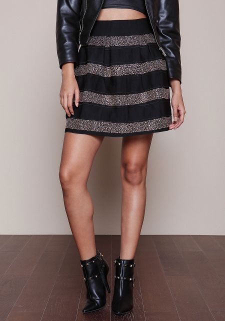 Glam Studded Flare Skirt