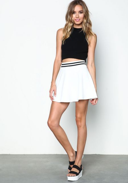 Ivory Sporty Quilted Flare Skirt