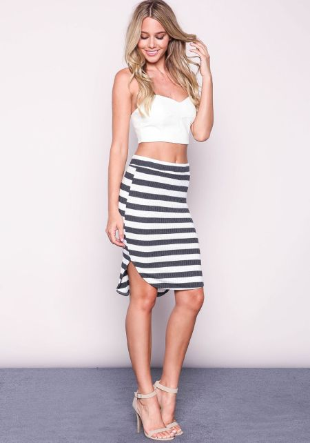 Striped Knit Rib Midi Skirt