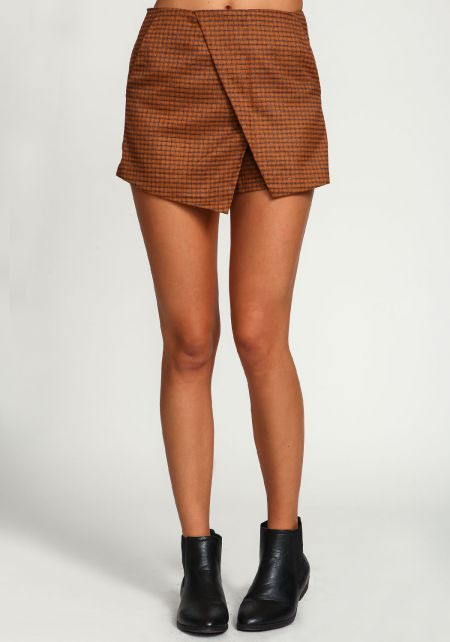 Camel Checkered Wrap Envelope Skort