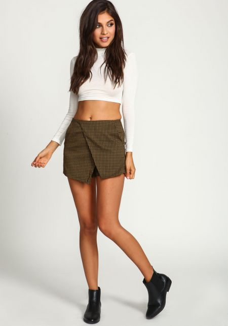 Olive Checkered Wrap Envelope Skort