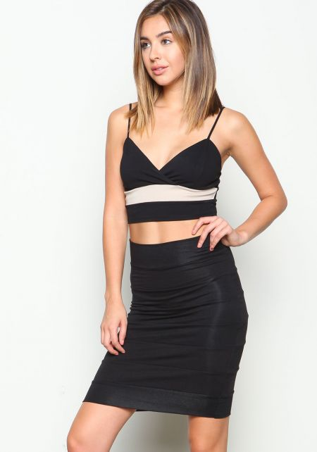 Black Knit Panel Midi Skirt