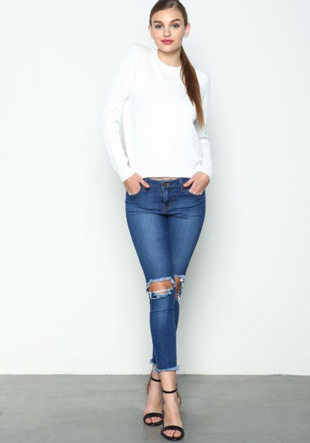 True Blue Wash Cut Out Jeans