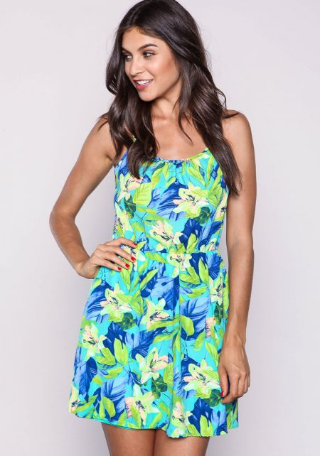 Jade Floral Strappy Woven Dress