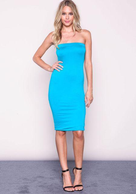Jade Strapless Midi Knit Dress
