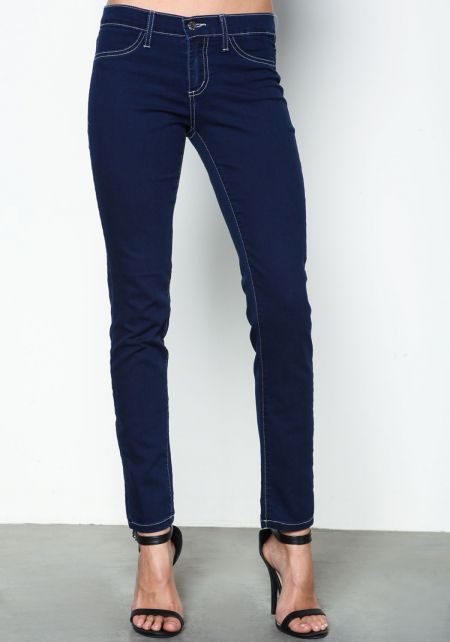 Dark Wash Contrast Stitch Jeggings