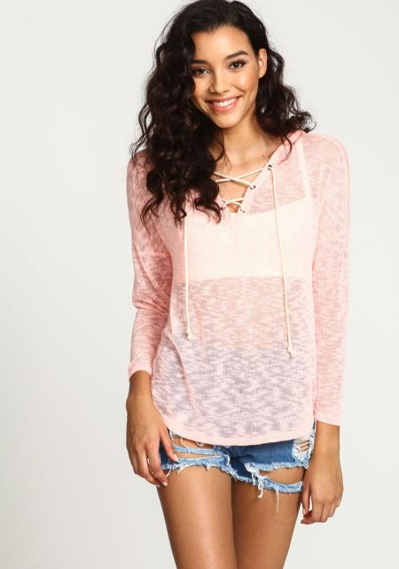 Coral Lace Up Knit Hoodie Top