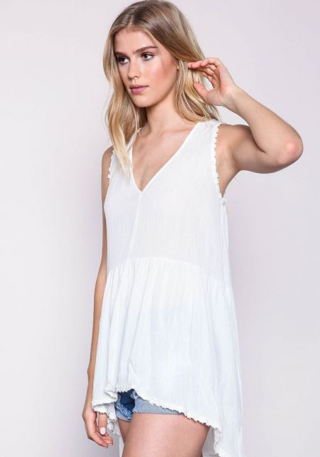 White Floral Crepe Babydoll Top