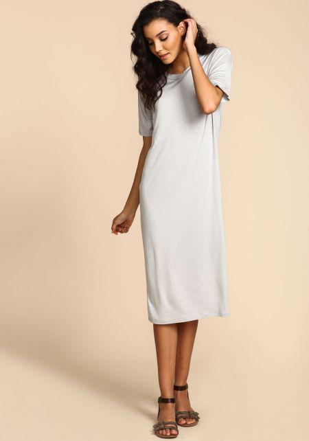 Grey Jersey Knit Maxi Dress