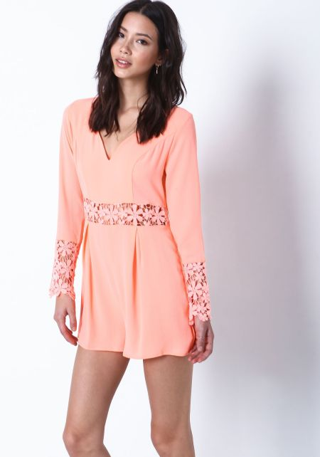 Coral Daisy Bloom Crochet Romper