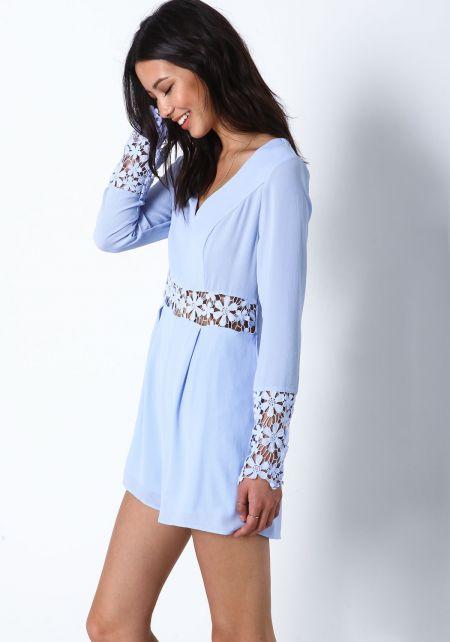 Blue Daisy Bloom Crochet Romper