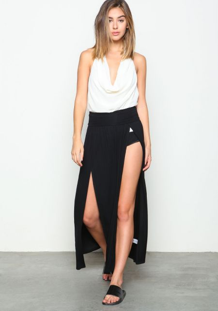 Black Double Slit Jersey Skirt