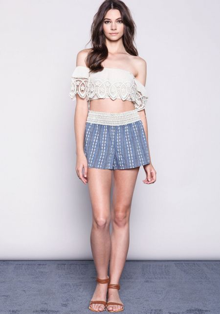 Floral Crochet Waistband Denim Shorts