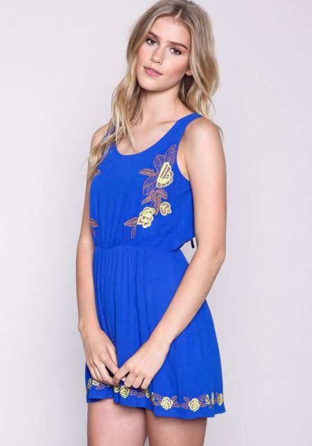 Royal Tropic Embroidered Romper