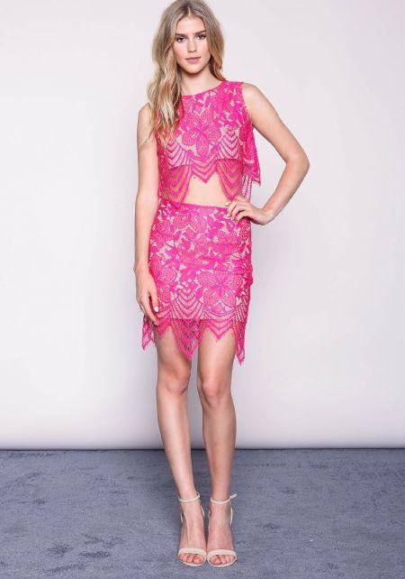 Fuchsia Floral Eyelash Lace Skirt