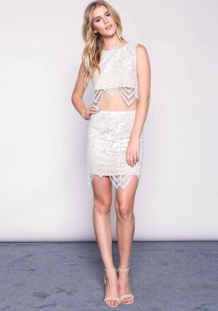 Ivory Floral Eyelash Lace Skirt