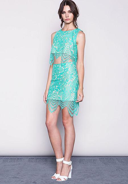 Mint Floral Eyelash Lace Skirt