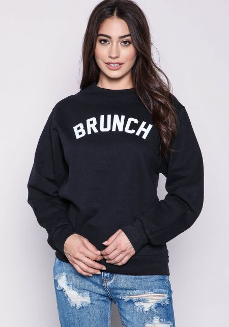Private Party Brunch Graphic Sweatshirt in Black