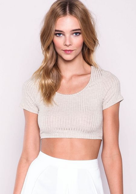 Oatmeal Ribbed Knit Cropped Tee
