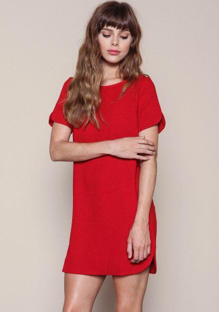 Red Woven Boxy Shift Dress