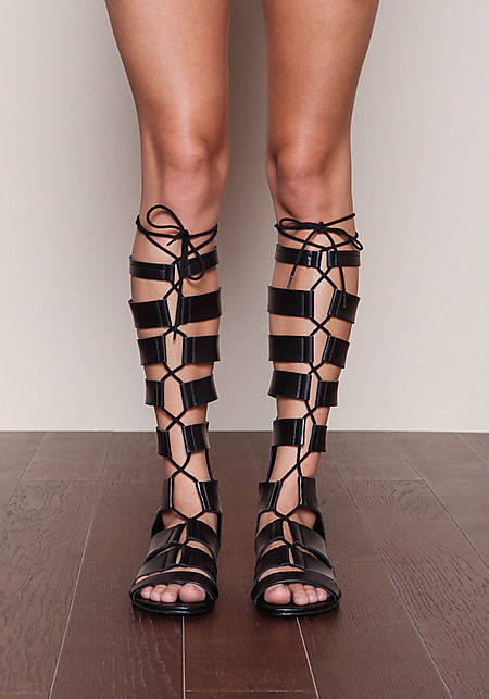 Black Cut Out Gladiator Sandals