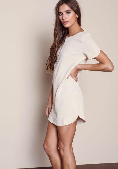 Nude Woven Boxy Shift Dress