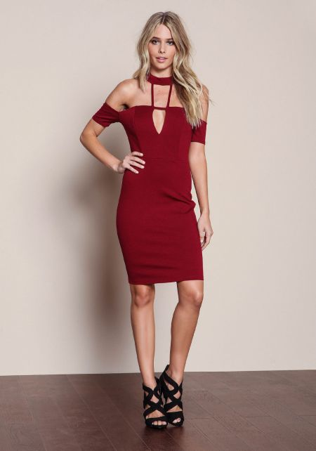 Burgundy Off Shoulder Caged Halter Dress