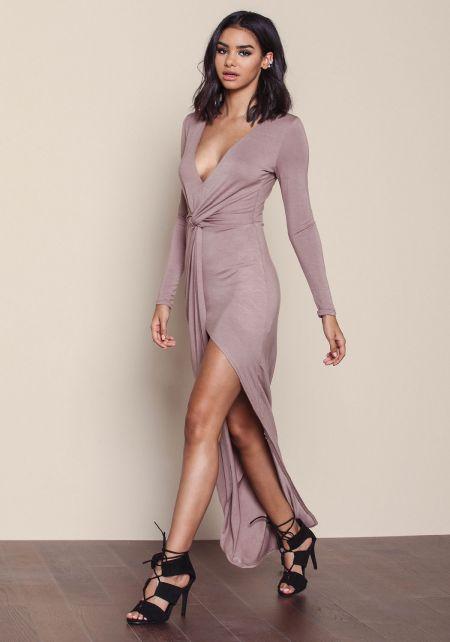 Mocha Plunge Wrap Asymmetric Maxi Dress
