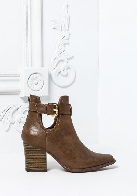 Taupe Buckled Strap Cut Out Booties