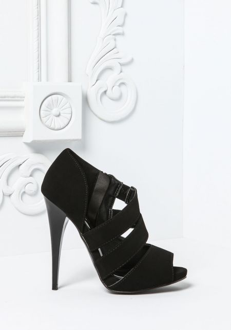 Black Side Strappy Peep Toe Heel