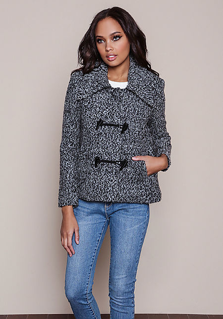 Black Wool Blend Toggle Coat