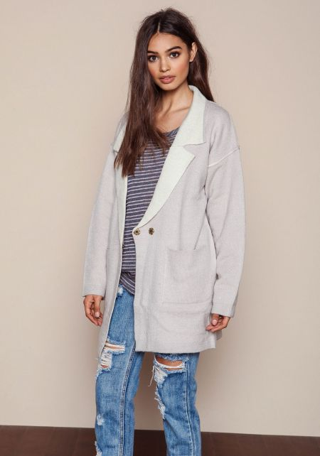 Grey Plush Knit Boyfriend Coat