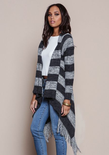 Charcoal Mohair Striped Fringe Cardigan