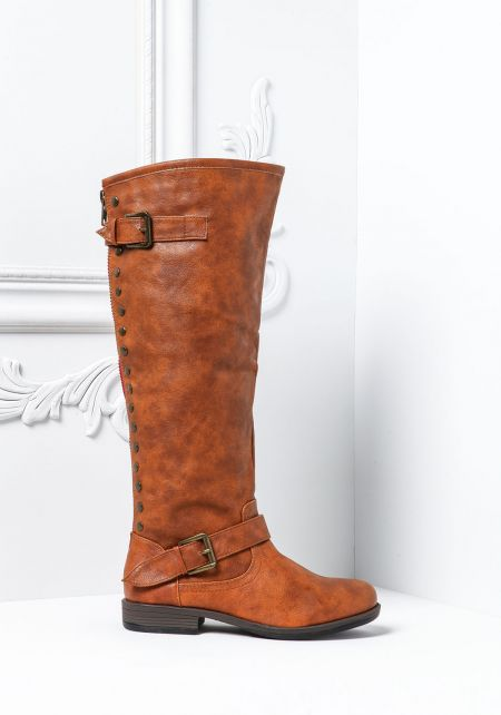 Chestnut Studded Zipper Knee High Boots