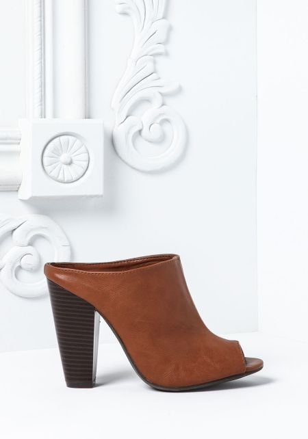Chestnut Leatherette Peep Toe Clog Booties
