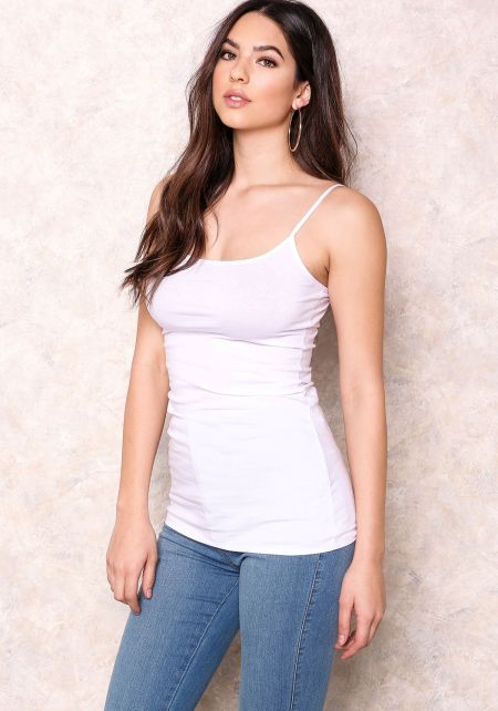 White Cotton Blend Cami Top