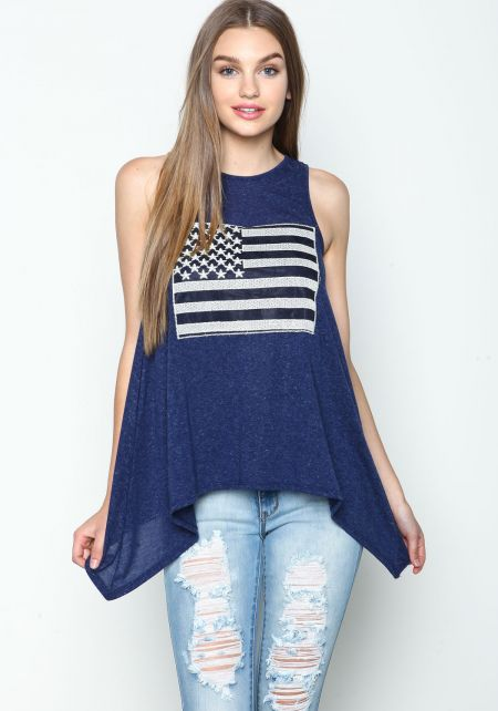 Embroidered Stars and Stripes Swing Tee
